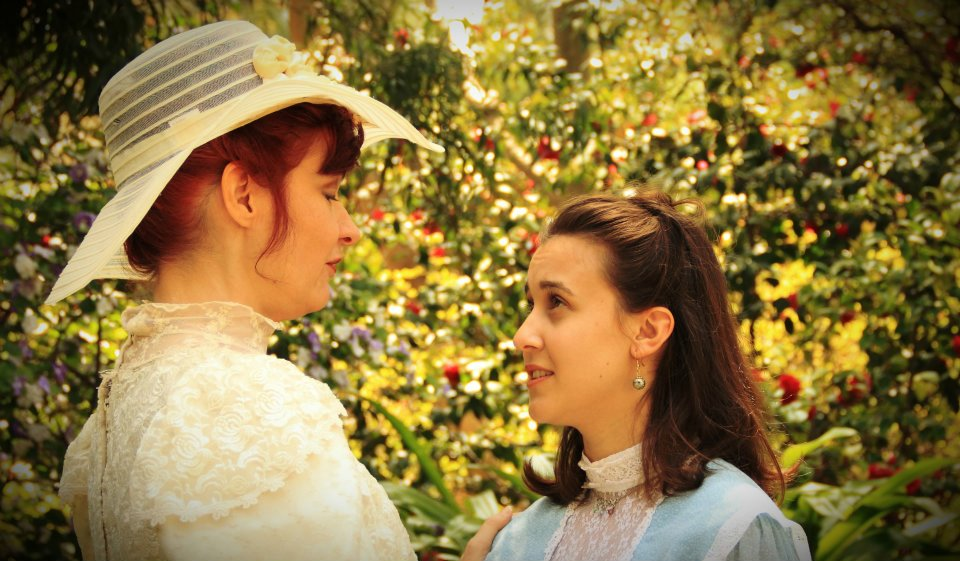 """Georgan George and Ilona Kulinska in """"The Garden Party."""" History Lit 2012. Photo by John Thvedt."""